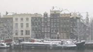 Amsterdam houses in snowy weather the Netherlands video