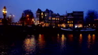Amsterdam in the Netherlands by night video
