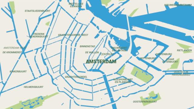 Amsterdam  Map Animation 4K video