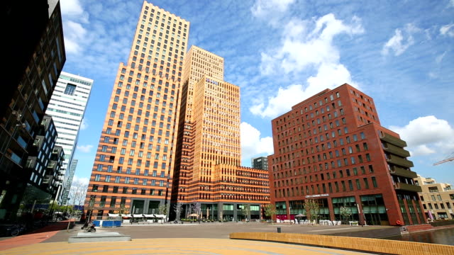 Amsterdam modern office buildings, Time Lapse video