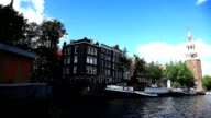 Amsterdam Montelbaans Tower and canal video