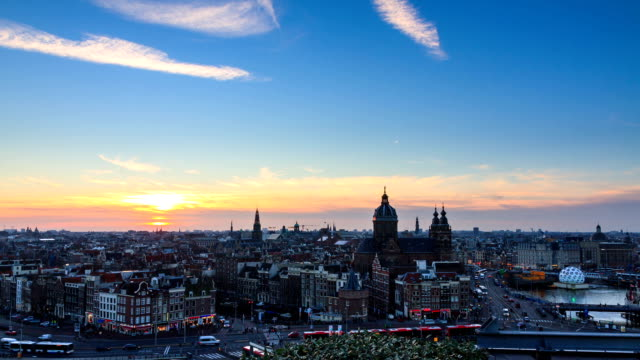 Amsterdam skyline timelapse video