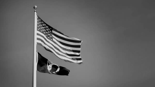 An American flag flowing with a Vietnam POW MIA Flag - Black and White Version video