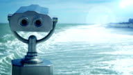 An early spring stormy sea landscape with the tourist telescope video