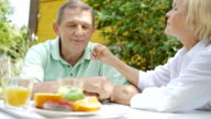 An elderly couple talking in the garden for lunch. video