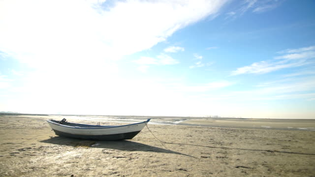 An old boat on a muddy bank in the background of a bright sun video