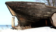 An old wrecked wooden boat video