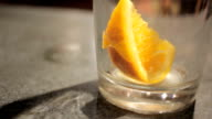 An Orange Slice Sits in An Empty Pint Glass video