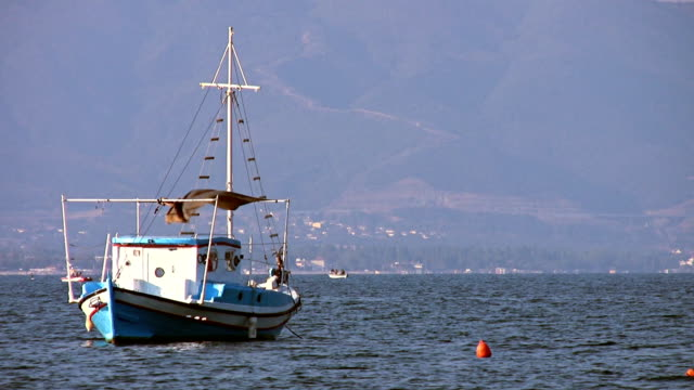 Anchored Boat at the sea video