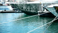 Anchored boats in harbor. video