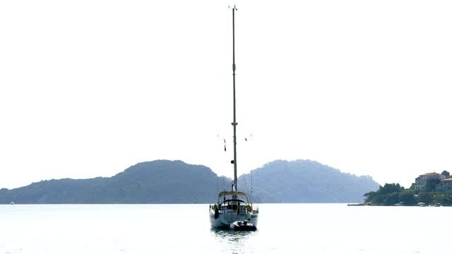 Anchored sailboat on island Mljet video
