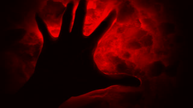 Ancient aliens signs. Dark hand in the red evil snow. video