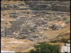 Ancient Amphitheater: Pull from Steps to Ruins.  Lindos, Rhodes, Greece video