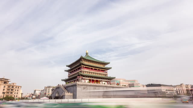 ancient architecture and busy road. time lapse hyperlapse video