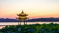 ancient architecture in west lake of hangzhou. timelapse day to night video