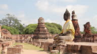 Ancient buddha statue and pagoda. video
