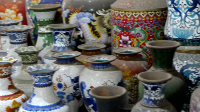 Ancient chinese vase with colorful design , Beijing , China. video