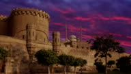 Ancient Citadel in Cairo on the background beautiful clouds sunset. Time lapse. Cairo. Egypt. video