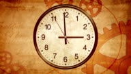 Ancient clock background. Passing time on old clock. Back to History video