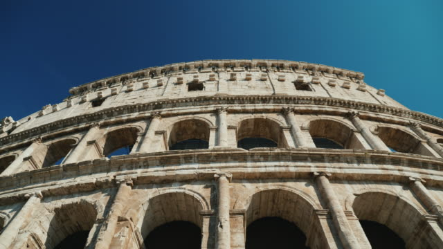 Ancient coliseum in Rome, Italy. Low angle video, steadicam shot video