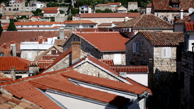 Ancient fortress at Hvar island over town citadel video