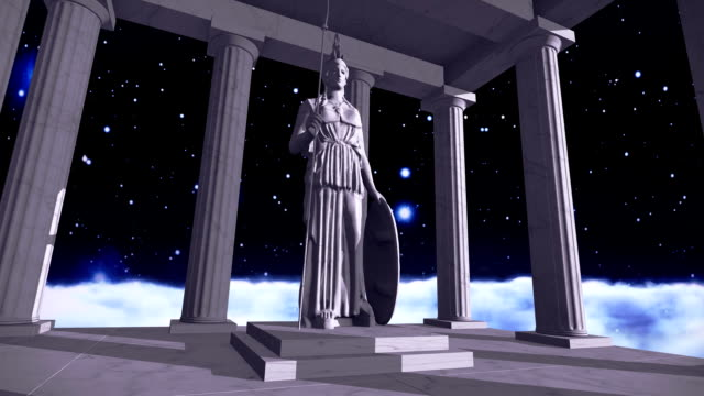 Ancient greek temple in space with a sculpture video