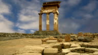 Ancient Greek Temple of the Dioscuri (V-VI century BC), Valley of the Temples, Agrigento, Sicily. The area was included in the UNESCO Heritage Site list in 1997 video