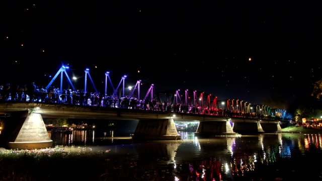 Ancient iron bridge in Yeepeng festival,Chiangmai Thailand. Time lapse. video
