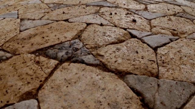 Ancient marble tiles ruins antique roman baths old town Salamis east Cyprus Famagusta video