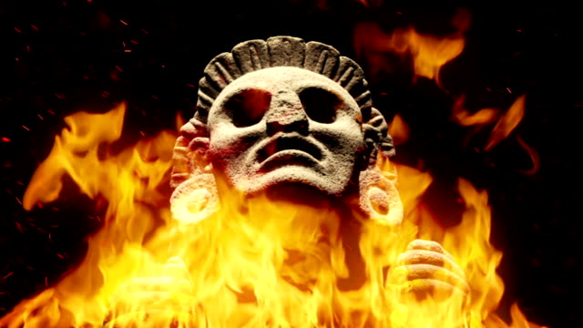 Ancient Mayan Figure In Flames video