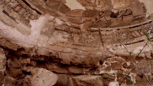 Ancient mosaic on wall of ruins antique town Salamis east Cyprus Famagusta video