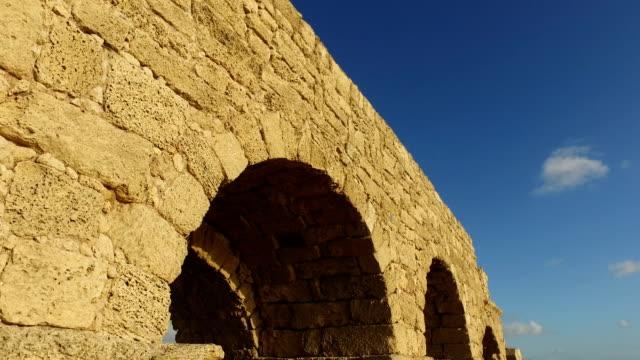 Ancient Roman Aqueduct in Caesarea Israel video