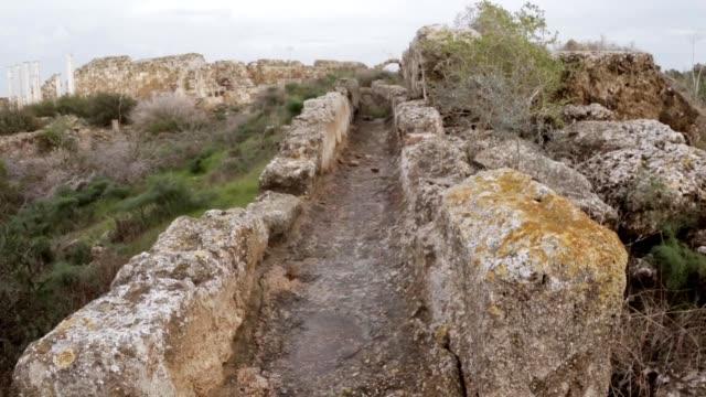 Ancient Roman aqueduct ruins ancient town Salamis east Cyprus Famagusta video