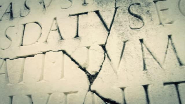 Ancient Roman Latin Script Panning video