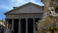 Ancient Roman monumental building. Pantheon with fountain. Slowmotion video