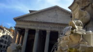 Ancient Roman monumental building. Pantheon with fountain video