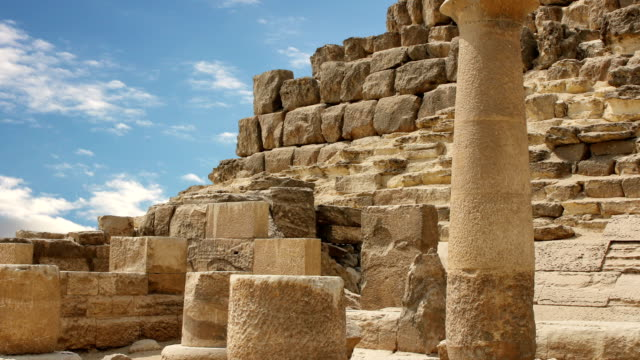 Ancient ruins near the pyramids of Giza. Egypt. Timelapse video