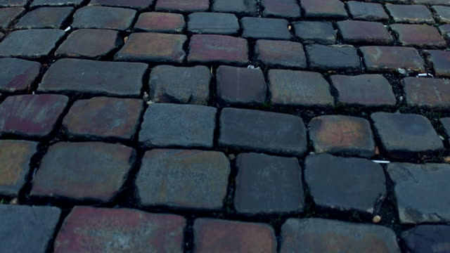 Ancient urban pavement close-up FullHD steadicam video video