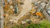TL and aerial view : preparation of  foundation pile video