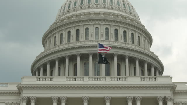 POW MIA and American Flags at the U.S. Capitol Building in Washington, DC - in 4k/UHD video