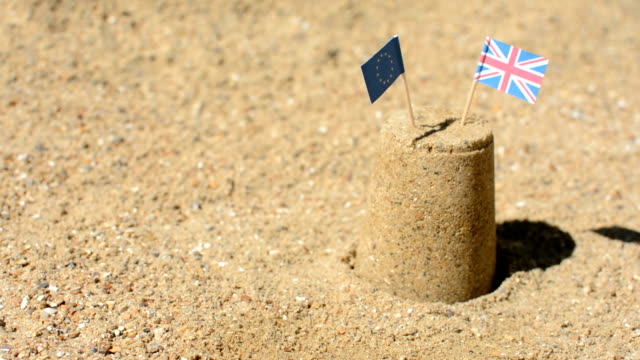EU and UK Flag Sandcastle Brexit Dolly video