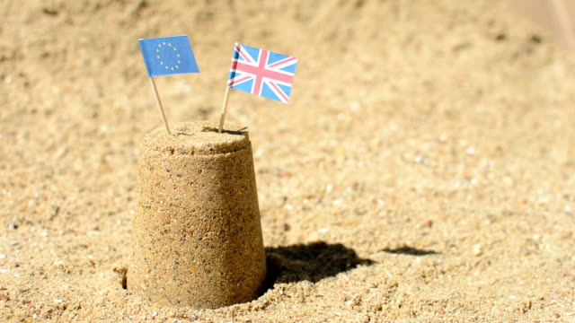 EU and UK Flag Sandcastle Brexit video