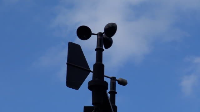 Anemometer measuring wind direction and wind speed. video
