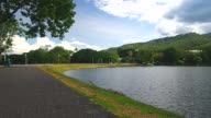 Ang Kaew reservoir under the blue sky video