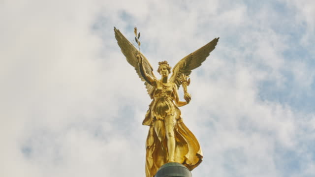 Angel of peace on the top of friedensengel monument in munich ge video