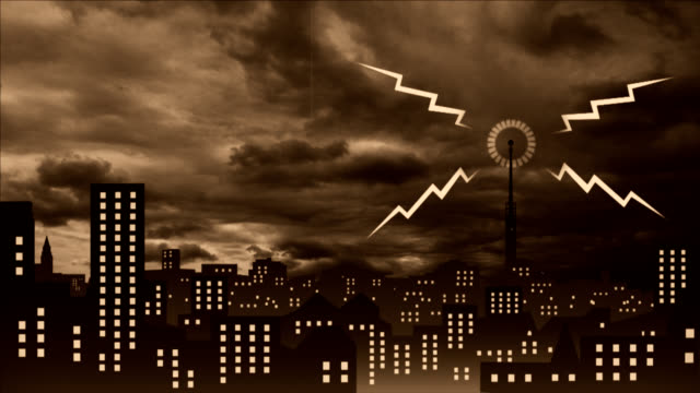 Anger release to air. Cartoon city night. Moody scenery. video