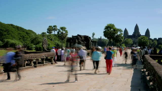 Angkor Wat Temple Cambodia visitors time lapse video