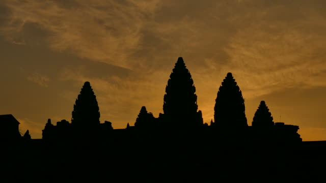 Angkor Wat Temple of Cambodia at Sunrise Silhouette video