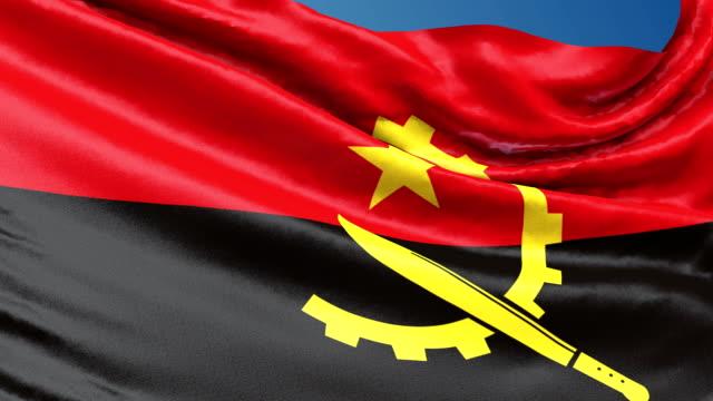Angola flag waving. 3d render seamless loop video
