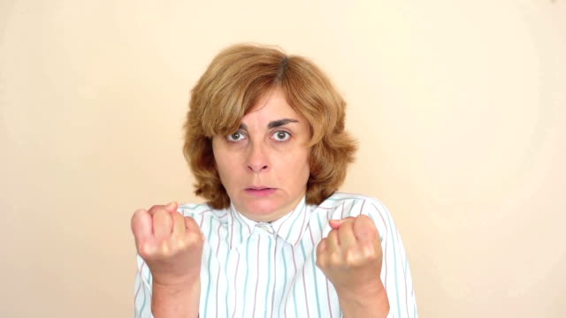 Angry and nervous woman video